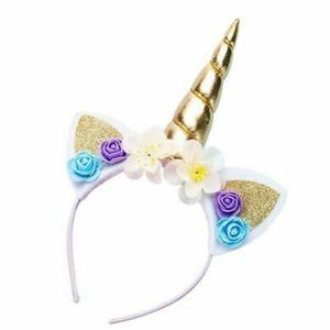 🦄 GOLD Unicorn Horn Flower Headband Caticorn Hair